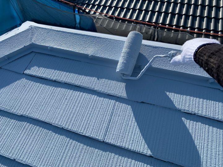 屋根塗装 棟押さえ板金 上塗り