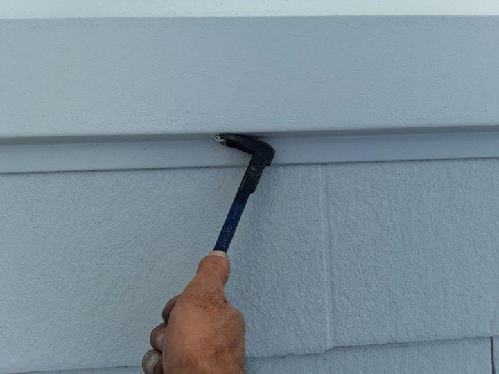 屋根塗装 棟押さえ板金 釘抜き