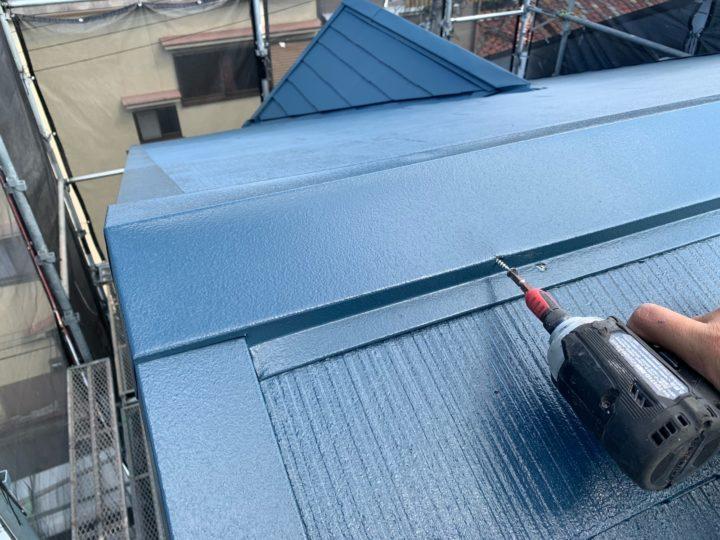 屋根塗装 棟押さえ板金 釘入れ