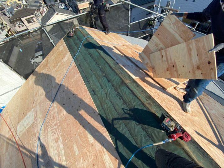 屋根葺き替え工事 木下地設置