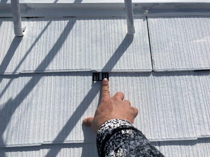 屋根塗装 タスペーサー挿入