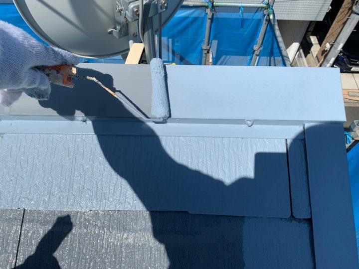 屋根塗装 棟押さえ板金 1回目