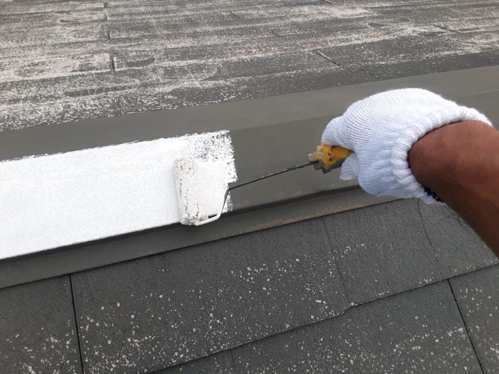 屋根カバー工事 棟板金 錆止め